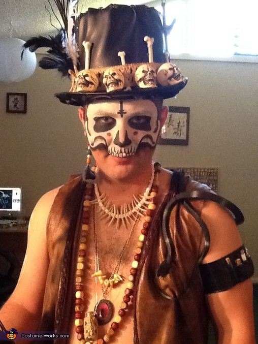 Close up of hat and makeup, Voodoo Baron Samedi and Madame Brigitte Costume