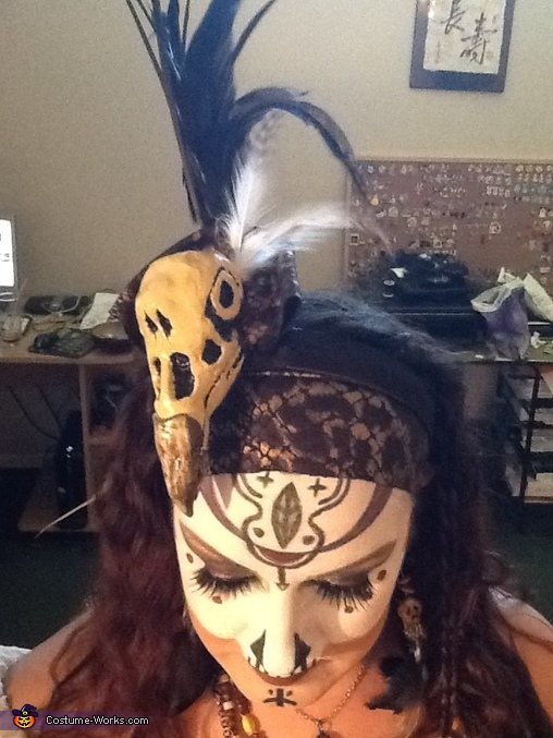Close up of headpiece and makeup, Voodoo Baron Samedi and Madame Brigitte Costume
