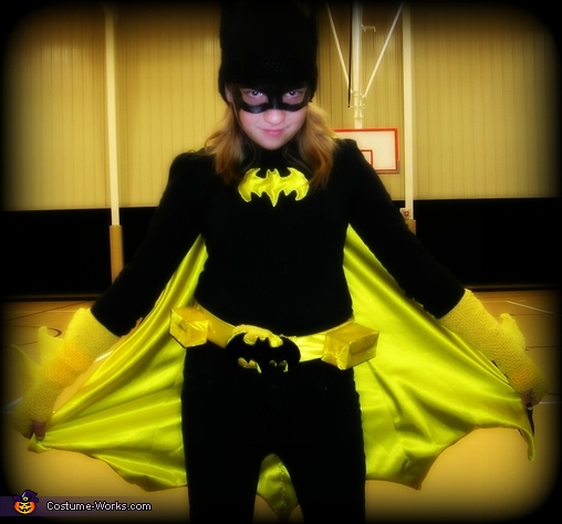Linda after her makeup and posing for her school, Batgirl Costume