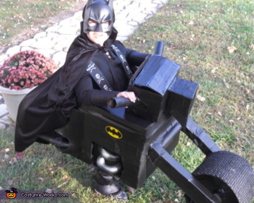 Batman rides a BAT-CYCLE! A creation by Dad, Bob... it has all of the bells, whistles & lights!, Batman with Batcycle Costume