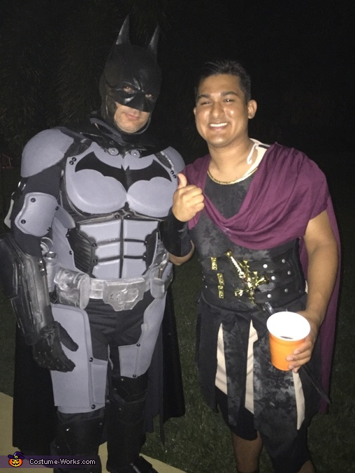 Posing with a friend, Batman Costume