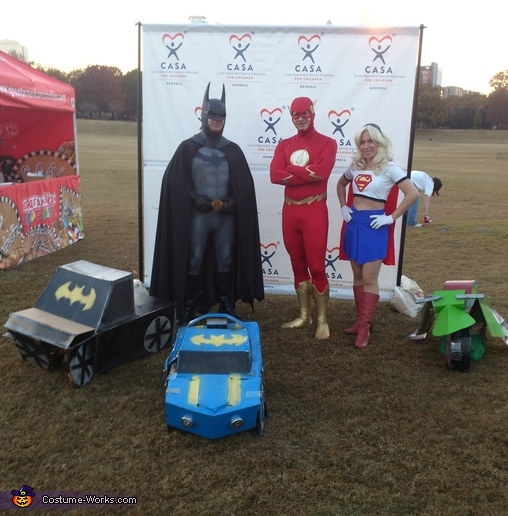 The boys at the super hero walk for battered and abuse kids, Batman and Robin Transformers Costume
