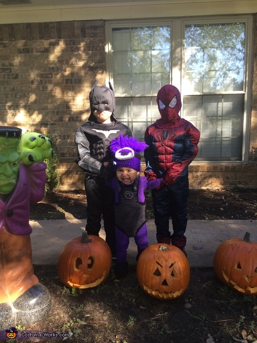 Batman and Spiderman meet their match, evil minion terrorizes, Batman and Spiderman Costume