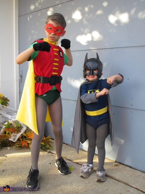 Jack as Robin and Ben as Batman, Batman Family Costume