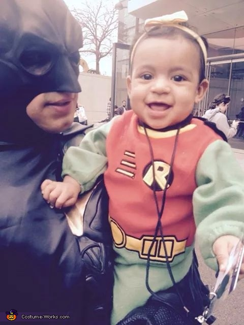 happy robin with daddy batman, Batman Family Costume