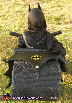 Batmobile rear view, Batman with Batcycle Costume