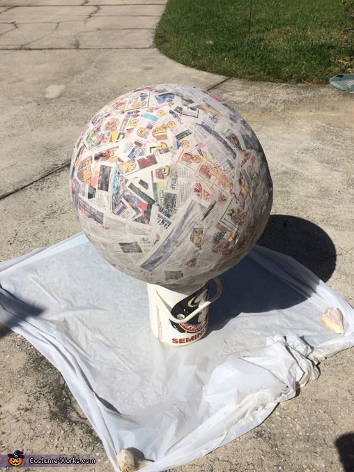 Paper mache yoga ball, BB-8 Costume