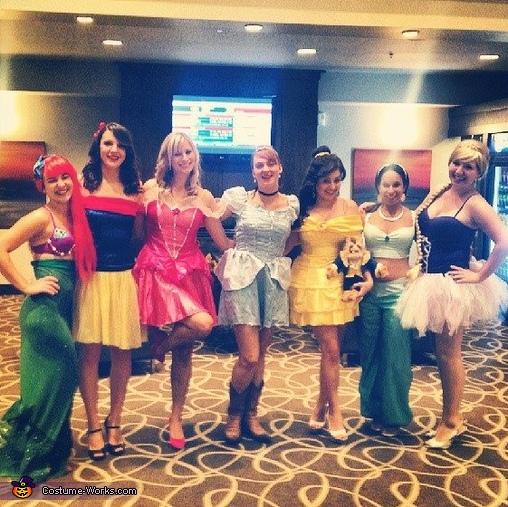 Ariel, Snow White, Aurora, Cinderella, Belle, Jasmine and Rapunzel., Beauty and the Beast's Princess Belle Costume