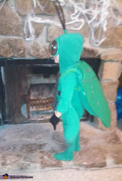 Here is a side view., Beetle Costume