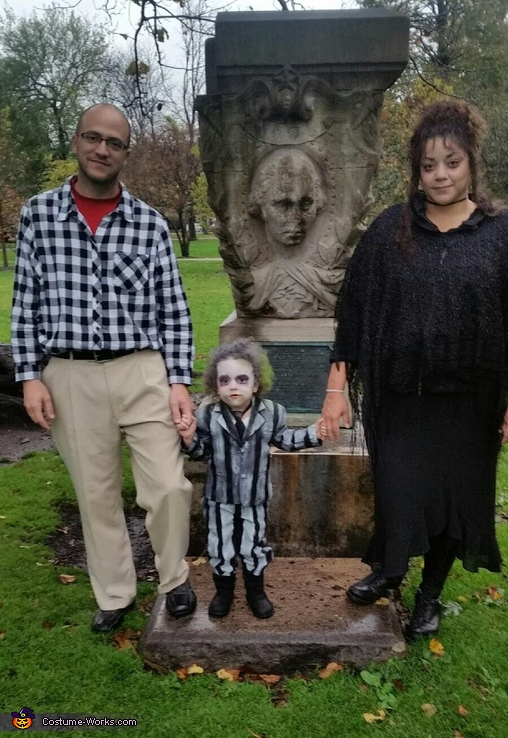 Family photo. Adam, Beetlejuice, and Lydia, Beetlejuice Baby Girl's Costume