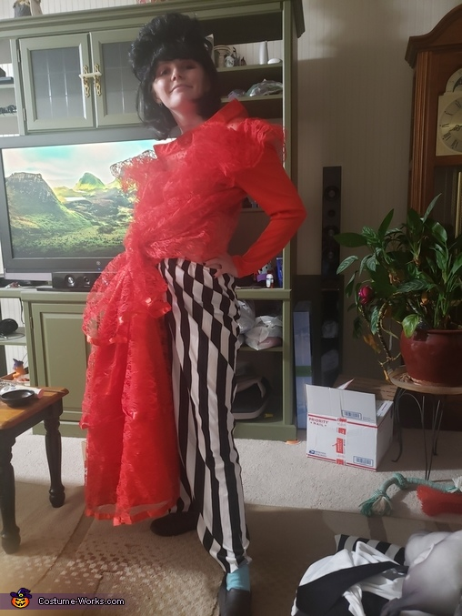 before cotton legs, Beetlejuice and Bride Lydia Costume