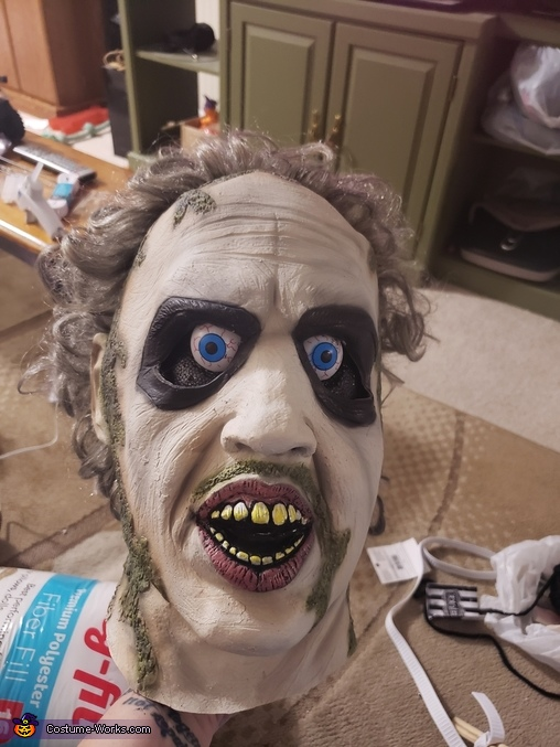 Beetlejuice mask on styrofoam head, Beetlejuice and Bride Lydia Costume