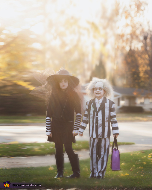 My kids Trick of Treating (Photo by Boomerang Photography), Beetlejuice Family Costume