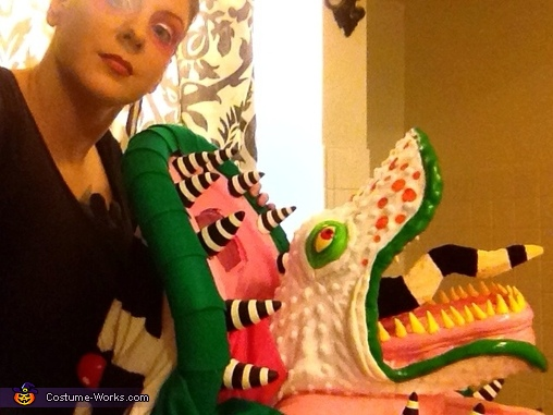 Side view of the sandworm just before crawling in., Beetlejuice Sandworm Costume