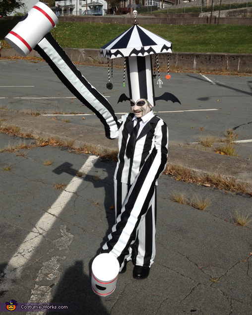 Beetlejuice with Carousel Hat and Hammer Arms Homemade Costume