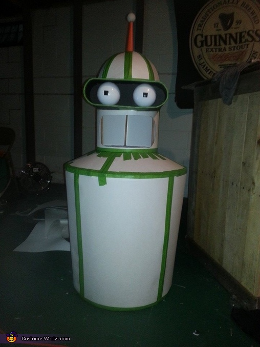 Skinning Finished, Mouth Cut, Visor Complete, Eyes Fit, Futurama Bender Costume