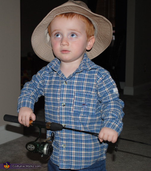 Logan before getting into the boat, Big Red Fisherman Costume