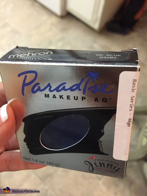 This face and body makeup from Mehron is what turned Jacob blue like Biggie the whole day with no smudging or itching. Jacob was so comfortable and smelled good since it has a coconutty scent., Biggie from Trolls Costume