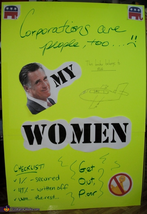 This is the outside of one of Romney's Binders Full of Women, Binders Full of Women Costume