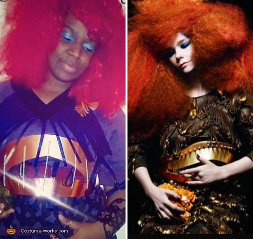 Side by side Me vs Bjork, Biophilia Bjork Costume