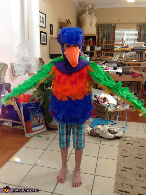 After the feathers were attached, Bird in a Cage Costume