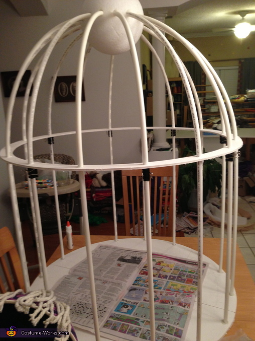 The cage almost finished, Bird in a Cage Costume