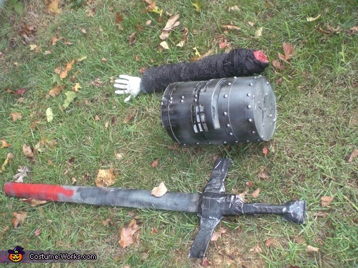 Helmet, Arm, and Sword #2, Black Knight from Monty Python and the Holy Grail Costume