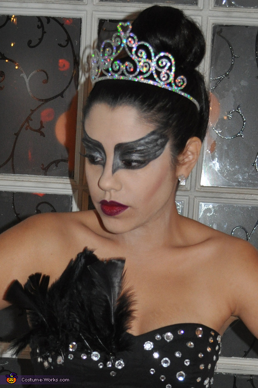 Close up of makeup ,  Black Swan Costume