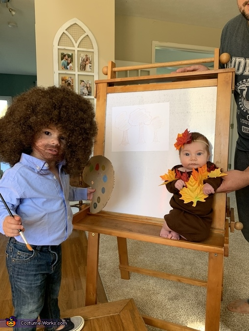 Bob Ross and a Happy Little Tree Costume