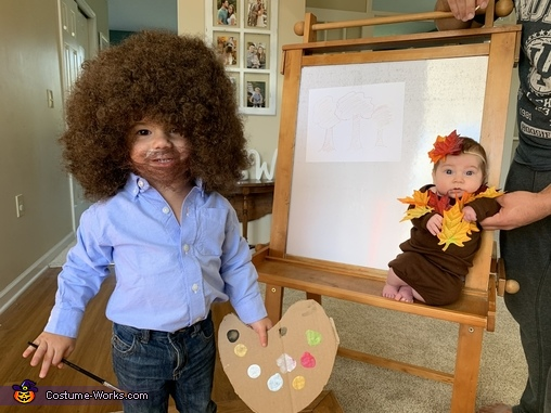 Bob Ross and a Happy Little Tree Homemade Costume