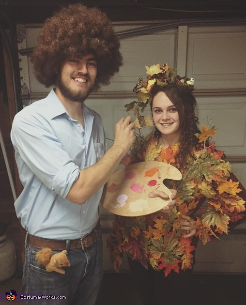 bob ross and a happy tree costume