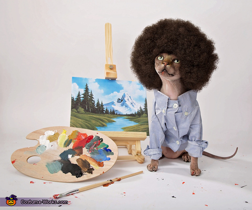 Bob Ross Painting Happy Little Trees Cat Costume