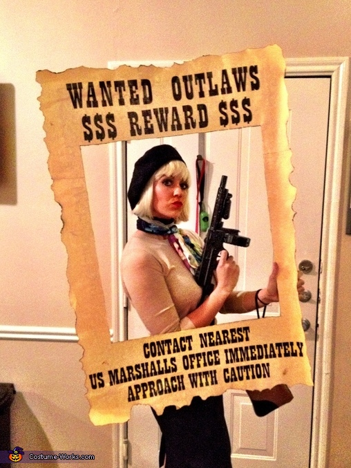 Bonnie posing with the Wanted Poster, Bonnie & Clyde Costume