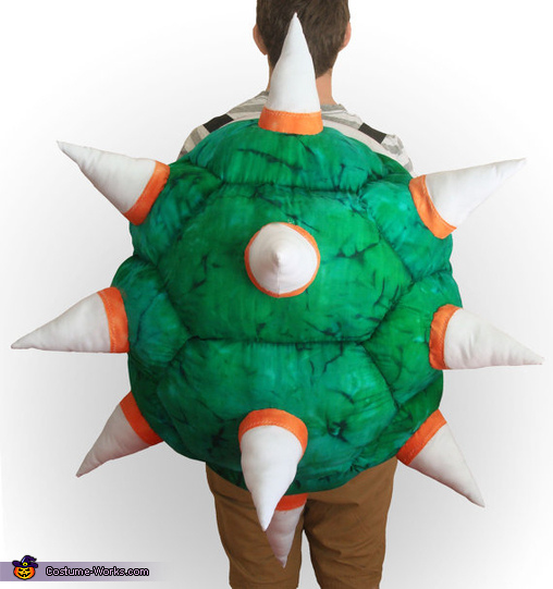 Bowser Costume Back View - 100%Cotton, so spikes are soft!, Bowser Costume