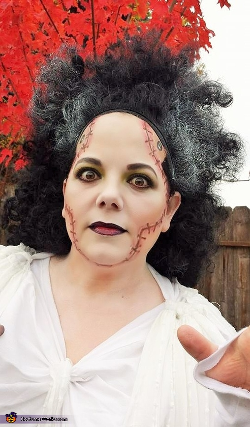 Close up stitches, Bride of Frankenstein Costume