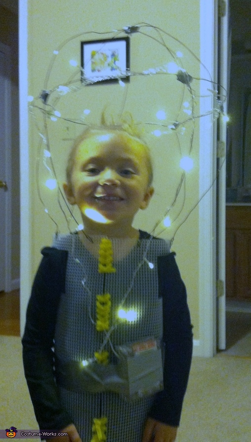 Stage Two: lights on, frame complete, Bright: Our Little Lightbulb Costume