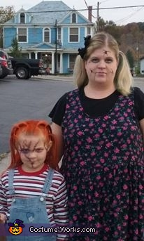 me and my daughter Harlie., Broken Doll and Chucky Doll Costume