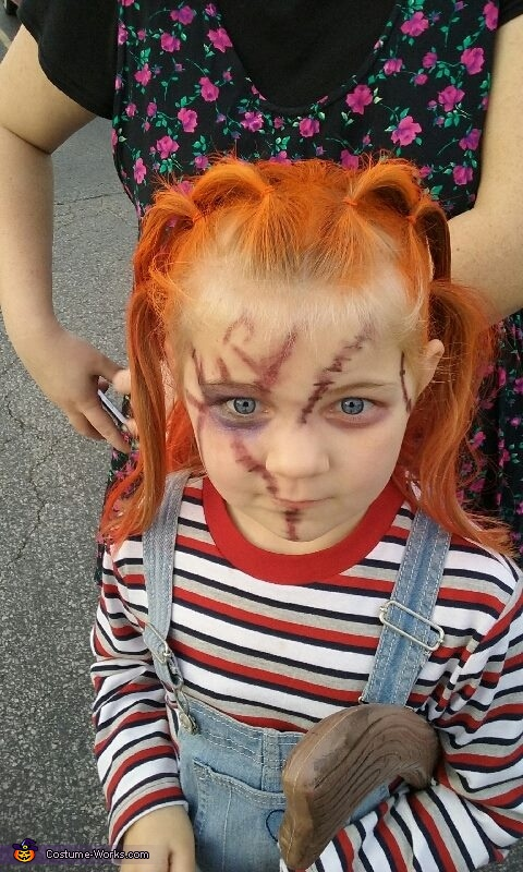my daughters makeup up close, Broken Doll and Chucky Doll Costume