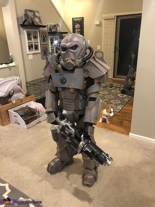Corgi photo bomb!!, Brotherhood of Steel Power Armor Costume