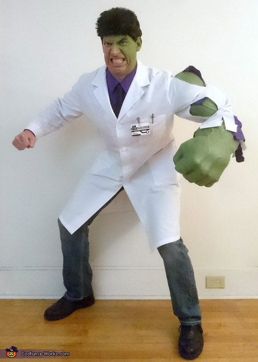 Bruce Banner transforming into the Incredible Hulk Costume