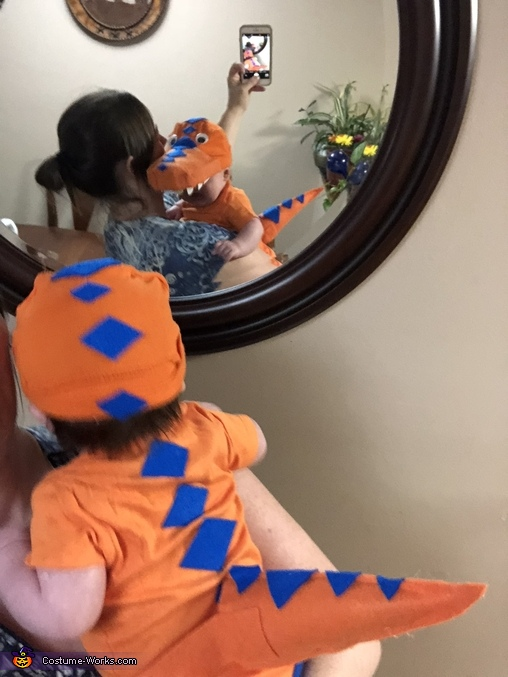 Back of costume, Buddy the Baby T Rex from Dinosaur Train Costume
