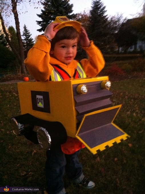 Bulldozer Driver and Construction Cone Homemade Costume