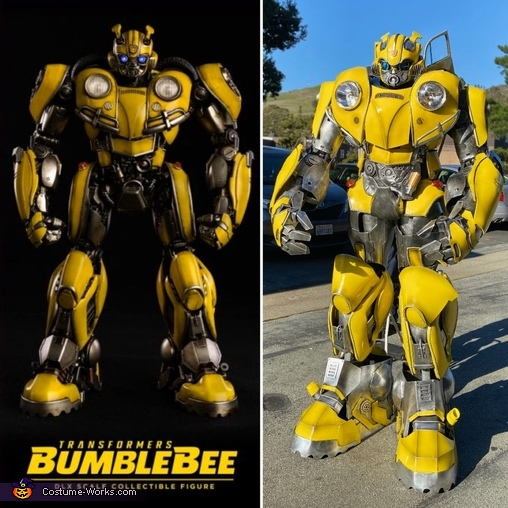 Side by side comparison toy to costume, Bumble Bee Costume