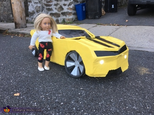 the car with my twin doll ( to show the scale ), Bumblebee Costume