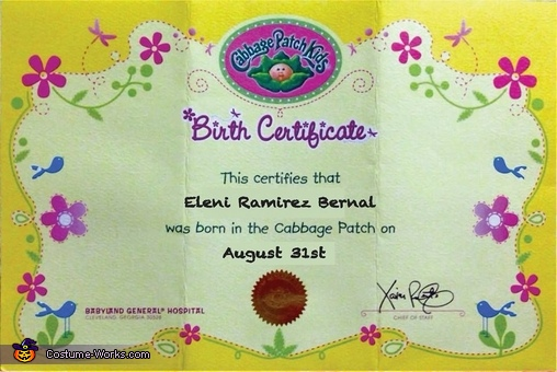 Birth certificate, Cabagge Patch Kids Costume