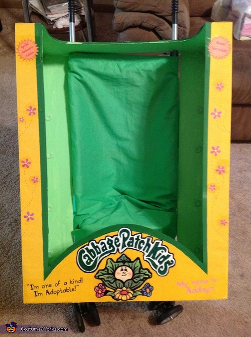 Flowers painted on the sides of the box., Cabbage Patch Doll Costume