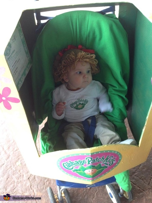 Checking out her new box for the night lol, Cabbage Patch Kid Baby Costume