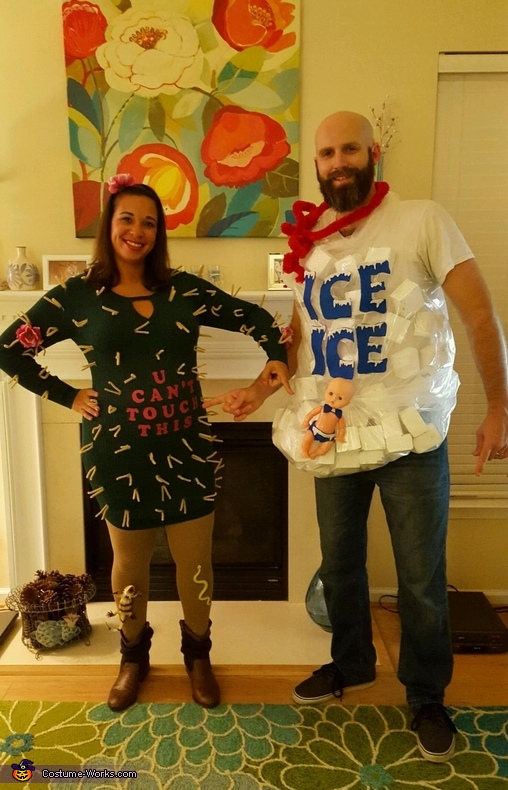Pointing to what it's all about: Baby to Be, Cactus and Ice Costume