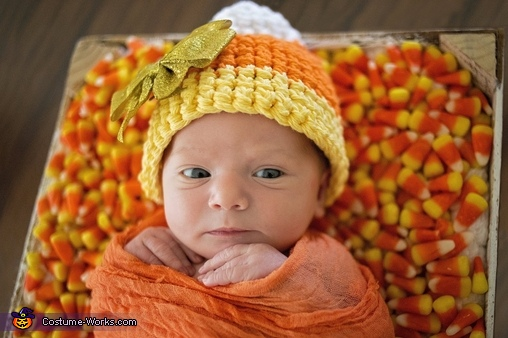 Aria Grace 1 week old. Candy Corn baby, Candy Corn Baby Costume