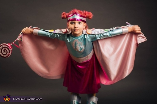 Candy Girl flying- one of her many powers, Candy Girl Costume